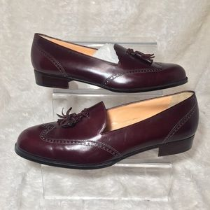 Cole Haan Burgundy Loafers with Tassels Sz 10.5